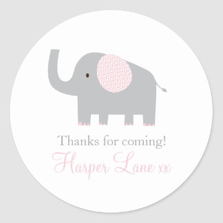 Little Pink and Grey Elephant Sticker Labels