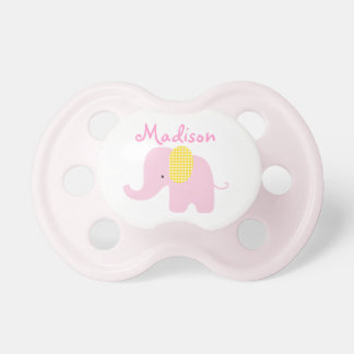 Little Pink and Yellow Elephant Baby Pacifier