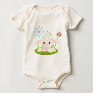 Little Pink Baby Bunny With Flowers Baby Bodysuit