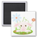 Little Pink Baby Bunny With Flowers 2 Inch Square Magnet