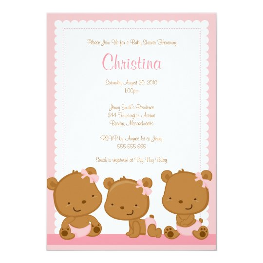 Little Pink Bears GIrl Baby Shower Invitation