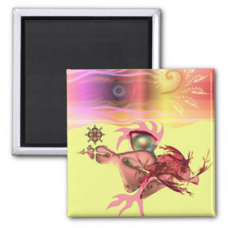 Little pink beastie goes for a run 2 inch square magnet