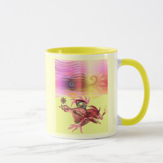 Little pink beastie goes for a run mug
