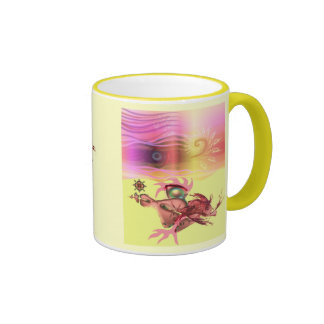 Little pink beastie goes for a run ringer mug