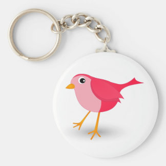 Little Pink Bird Cute Girl Classic Round Keychain