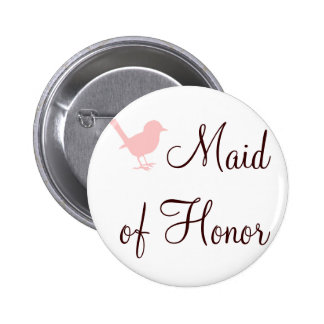 little pink bird maid of honor button