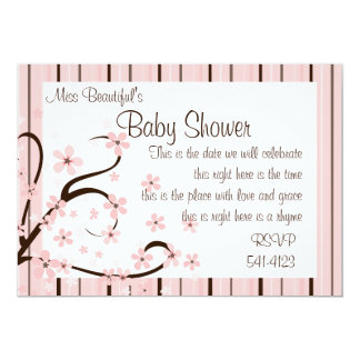 """Little Pink Blooms 5"""" X 7"""" Invitation Card"""