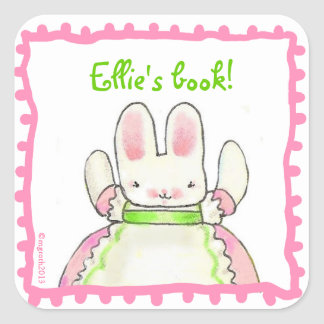 Little Pink Bunny bookplate Square Stickers