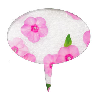 little pink flowers cake topper