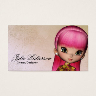 Little Pink Hair Asian Girl Fantasy Business Card