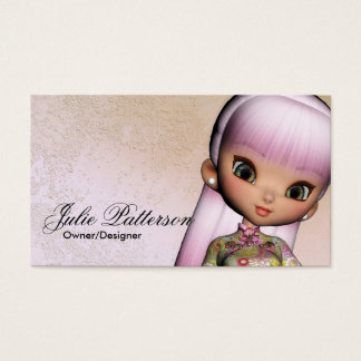 Little Pink Hair Asian Girl Fantasy Business Cards