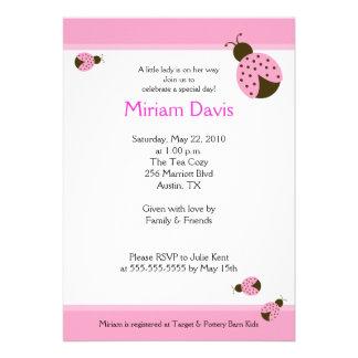 Little Pink Ladybugs 5x7 Baby Shower Invitations
