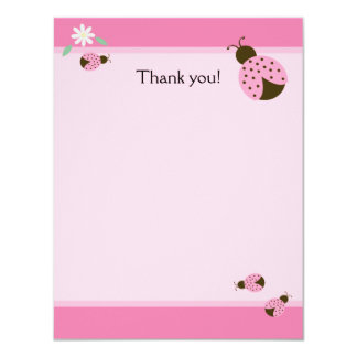 Little Pink Ladybugs Flat Matte Thank you note Card