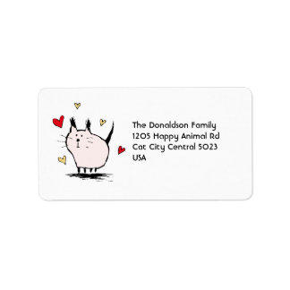 Little Pink Love Cat Address Labels