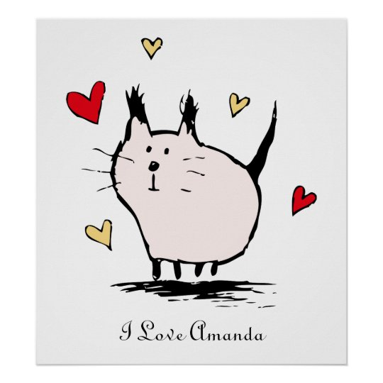 Little Pink Love Cat Personalised Poster