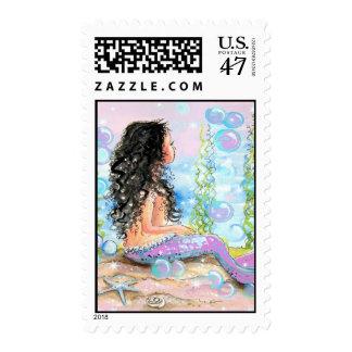Little Pink Mermaid Postage Stamp