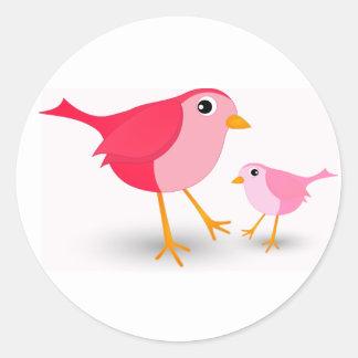 Little Pink Mother Bird & Her Chick Round Sticker