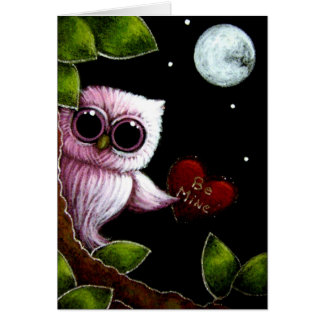 LITTLE PINK OWL - BE MINE HEART GREETING CARD