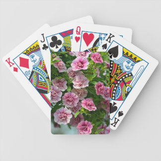 Little pink petunias in spring bicycle playing cards