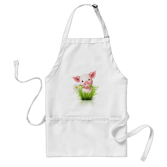 Little pink pig in grass adult apron