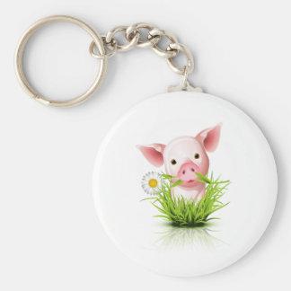 Little pink pig in grass basic round button keychain