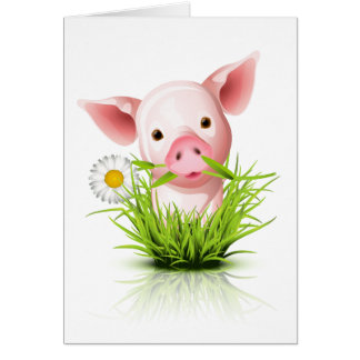 Little pink pig in grass greeting card