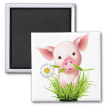 Little pink pig in grass magnet