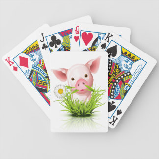 Little pink pig in grass bicycle playing cards