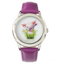 Little pink pig in green grass wrist watch