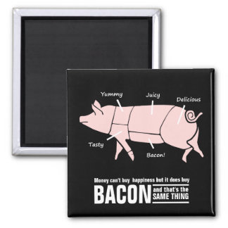 Little Pink Piggie with Tasty Labels 2 Inch Square Magnet