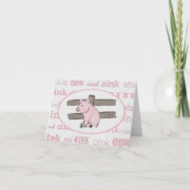 Little Pink Piglet Note Card