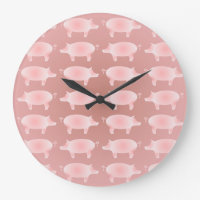 Little Pink Pigs Pattern Wall Clock
