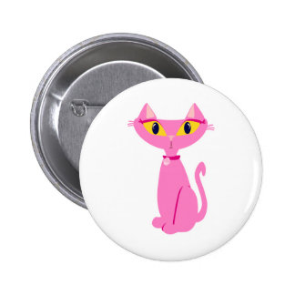 Little Pink Retro Cat Pinback Button