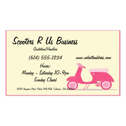 Little Pink Scooter Business Cards