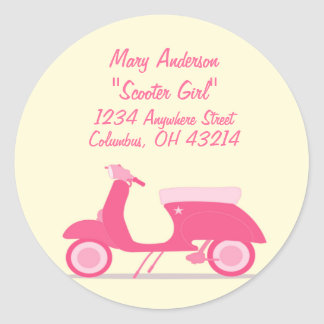 Little Pink Scooter Return Address Labels Round Stickers
