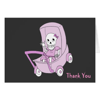 Little Pink Skeleton Baby Shower Thank You Notes Card