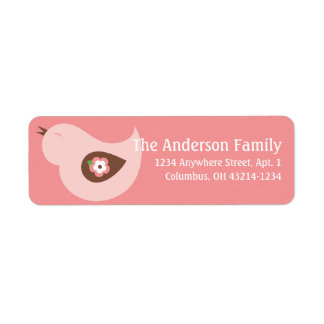 Little Pink Spring Season Bird Address Labels