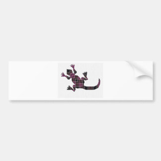 little pink tartan gekko lizard bumper sticker