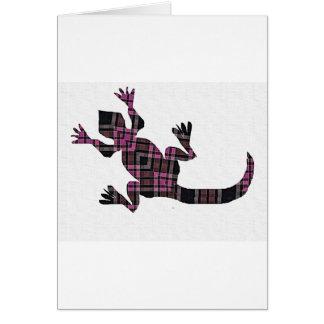 little pink tartan gekko lizard greeting card