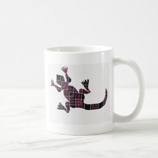 little pink tartan gekko lizard mugs