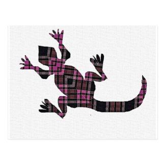 little pink tartan gekko lizard postcard