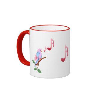 Little pink Valentine bird Ringer Mug