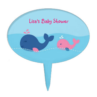 Little Pink Whale Baby Shower Cake Topper