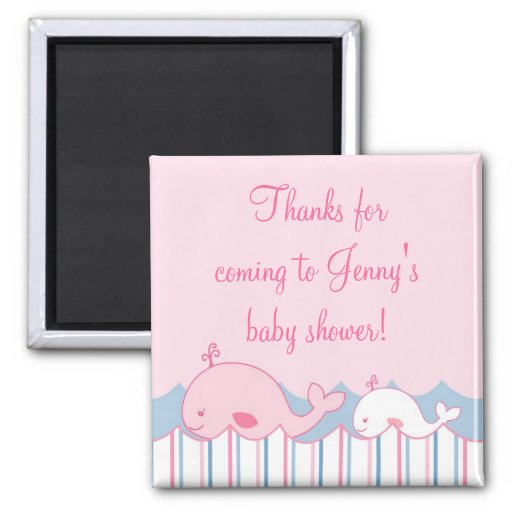 Little Pink Whale Baby Shower Favor Magnets