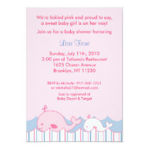 Little Pink Whale Baby Shower Invitations