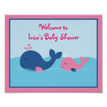Little Pink Whale Baby Shower Welcome Sign Poster