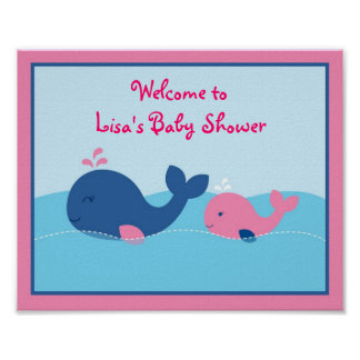 Little Pink Whale Baby Shower Welcome Sign Posters