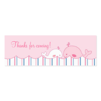 Little Pink Whale Birthday Favor Gift Tags Double-Sided Mini Business Cards (Pack Of 20)
