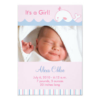 Little Pink Whale Custom Photo Birth Announcements