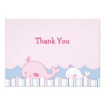Little Pink Whale Nautical Thank You Note Cards